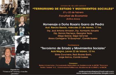 El Cartel de la JORNADA SOBRE EL TERRORISMO DE ESTADO Y MOVIMIENTOS SOCIALES