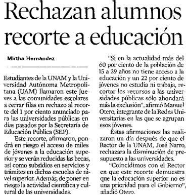 Rechazan alumnos recorte a educación