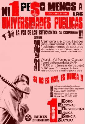 Foro Nacional por la Universidad Pública, la Ciencia y la Cultura, 30 y 31 de Octubre