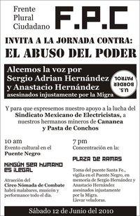 Protesta en Ciudad Juárez por los asesinatos de Sergio Adrián y Anastacio