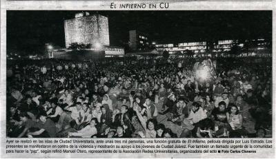 """Un exito la proyección de la película """"El Infierno"""" en la UNAM"""